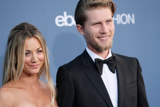 Golden Globes nominee Kaley Cuoco in tears as husband Karl Cook surprises her ahead of award show